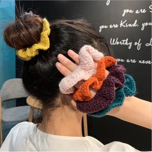 Autumn and winter new wool knitted large intestine hair ring Korean net red head decorated with ball head simple hair female