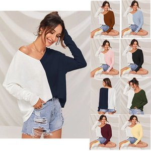 8 colors Hot selling Spring and Autumn 2021 Designer popular color contrast splicing V-neck fashion casual T-shirt long sleeve blouse