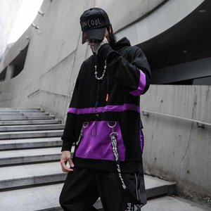 2020 New Color Patchwork Ribbon Fashion Urban Street Wear Mens Felpe con cappuccio Hip Hop Casual Felpe con cappuccio Streetwear Manica completa1