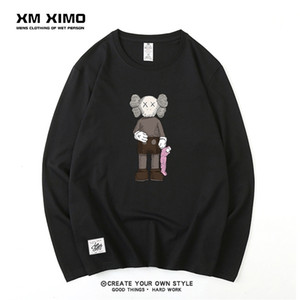 Sesame Street joint name long sleeve t-shirt men's pure cotton loose lovers bottom coat clothes T-shirt autumn clothes men's fashion brand