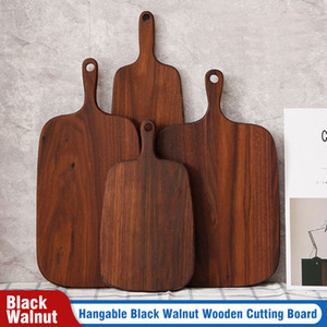 Hangable Black Walnut Cutting Board Durable Wooden Chopping Fruit Pizza Sushi BBQ Tray Solid Unpainted Non-slip Kitchen Dining Tools YL0096
