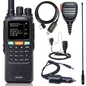 Walkie Talkie Abbree AR-889G GPS 10W 강력한 휴대용 크로스 밴드 듀얼 장거리 햄 양방향 무선 통신기