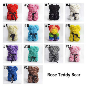 Rose Teddy Bear NEW Valentines Day Gift 25cm Flower Bear Artificial Decoration Christmas Gift for Women Valentines Gift Sea Shipping W12