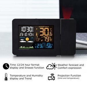 Estação de alarme digital Fanju LED Humility Tempo Previsão de Tempo Snooze Table Relógio com Projeção Tempo Y200407