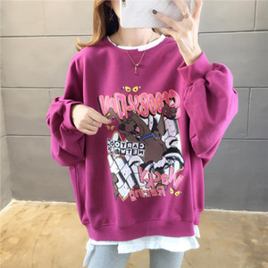 Hip Hop Oversize Leisure Hoodies Women 2020 Spring Lucky Dog Printed Round Neck Long Sleeve Loose Sweatshirts Preppy Style Girl