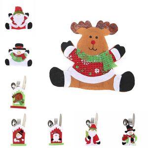 2020 Christmas Cutlery Bag Santa Snowman Moose New Year Pocket Fork Knife Holder Non-woven Table Dinner Decoration
