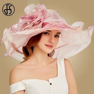 FS Pink Kentucky Derby Hat For Women Organza Sun Hats Flowers Elegant Summer Large Wide Brim Ladies Wedding Church Fedoras 201102