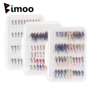 Bimoo 40pcs / scatola Pesca Fly Set Nymph Midge Bead Head Larvae Pupa Stonefly for Trout Fly Pesca 201103