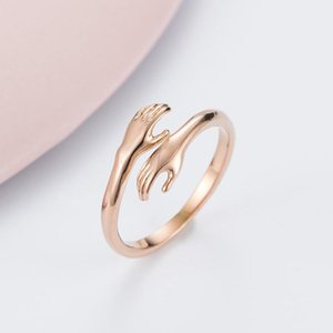 Korean Version Of Romantic Love Hug Rose Gold Titanium Steel Ring Hands Embrace Valentine's Day Gift Trend Jewelry Wholesale Free Postage