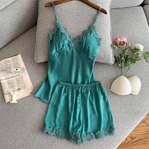 Juli Syjjf 2 Stück Frauen Sommer Pyjamas Set Fleck Seide Top Und Shorts Sexy Spitze Blume Atmungsaktive Sommer Kurze Hosen Home Wear1