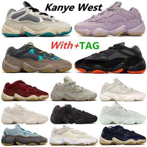 2021 Yeni Kanye 500 Lavanta Enflam Yumuşak Vizyon Taş Koşu Ayakkabıları Çöl Sıçan Kemik Beyaz 500 S Yardımcı Programı Siyah Erkek Spor Eğitmenler Sneakers