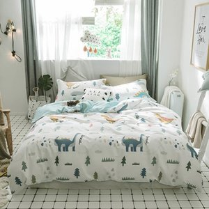 Svetanya Dinosaur Sheet Pillowcase Duvet Cover Bedding set Cotton Kids Teens Bedlinen Single Queen Full Double Size 201105