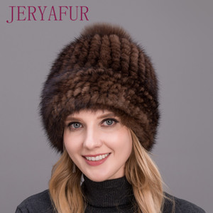 Hot sale real mink closely woven thick hat cap for women winter fox fur Pompom on the top LOVELINESS high quality