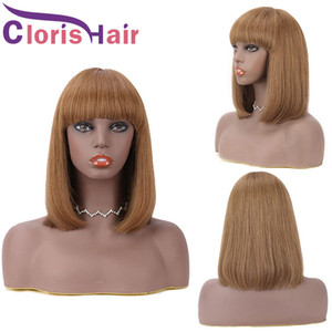#6 Chestnut Brown Front Non Lace Pixie Cut Short Bob Human Hair Wigs With Bangs For Black Women Straight Peruvian Remy Natural Glueless Wig