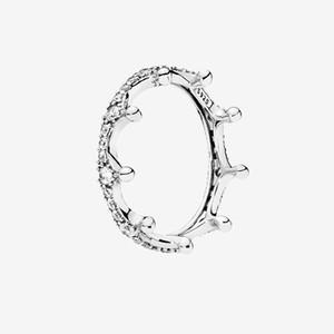 أصيلة الفضة الاسترليني الدائري النساء الفتيات الأزياء والمجوهرات مع مربع مجموعة لواضاء التاج التاج واضح