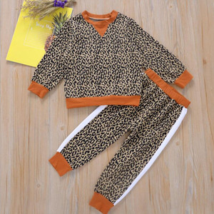2Pcs Set Baby Girl Boy Kids Leopard Print Sports Clothes Set Hoodied Coat Tops Pants Sweatsuit Baby Girl Spring Fall Outfits Tracksuit Suit