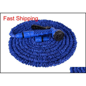 100ft Expandable Flexible Garden Magic Water Hose With Spray Nozzle Head Blue Green With Retail Box qylTwb yh_pack