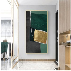 Abstract modern green gold leaf lines art canvas frames for living room bedroom poster and wall prints home decor