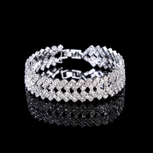 Silver Crystal Wedding Jewelry Bangles Bracelets for Women Costume Jewelry Cubic Zirconia Diamond Bridal Chain Bracelet