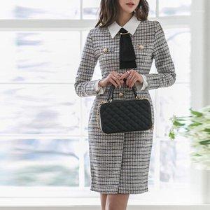 Новое Прибытие Мода Весна Осень Работа Стиль Черный Белый Плед MIDI Платье Женщины Элегантный Темперамент Офис Леди Карандашное Платье1