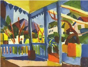 August Macke - Terrasse des Landhauses in St. Germai Home Decor Handpainted &HD Print Oil Painting On Canvas Wall Art Canvas Pictures 200101