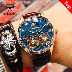 AILANG Оригинальный дизайн часы мужские двойные маховики автоматические механические часы мода повседневные бизнес мужские часы оригинальные LJ201126