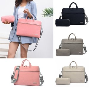 PU Leather women Laptop Bag Notebook Carrying Case Briefcase for Macbook Air 13.3 14 15.6 inch men Handbags shoulder Mouse Bag 201006