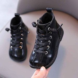 Child Spuare Toe Pu Boots Kids Fashion Sewing Ankle Boot 2020 Winter Warm Short Plush Shoes Boy Girl Antislip Casual Shoes 21-30 3#9259