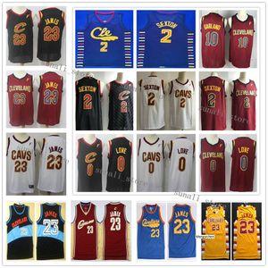 Costurados Hot Kevin Love 0 Collin Sexton 2 Darius Garland 10 Camisolas 2020 New White Red Preto basquetebol camiseta