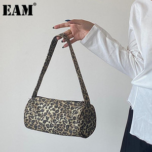 [EAM] Women New Brief Leopard Barrel-shaped Canvas Personality All-match Crossbody Shoulder Bag Fashion Tide 2021 18A1084