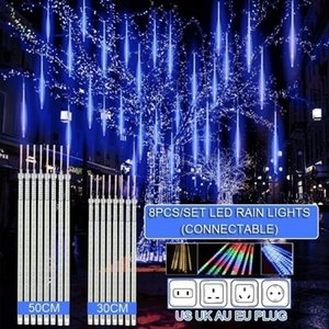 30cm  50cm Waterproof Meteor Shower Rain 8 Tube LED String Lights For Outdoor Holiday Christmas Decoration Tree EU US AU UK Plug