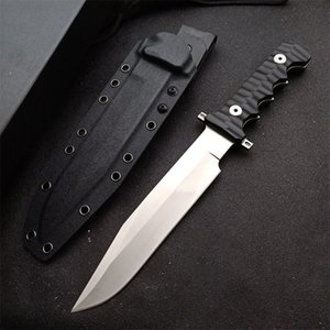 Outdoor Survival Tactical Straight Knife DC53 Satin Blade Full Tang Black G10 Handle Fixed Blades Knives With Kydex