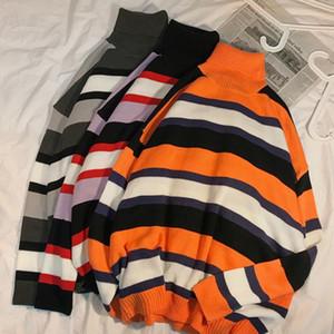 Sweaters Men Turtleneck Sweater Striped Leisure Chic Simple Teens Winter Fashion High Street BF Leisure Ins Harajuku Daily Retro