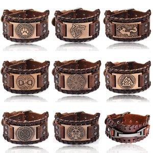 Charm Wide Leather Bracelet Men Punk Braided Rope Alloy Cuff Bangle Male Wristband Viking Bracelet Mens Jewelry