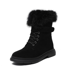 LEOSOXS Women Boots Mid-Calf Fur Warm Snow Boots Women Winter Shoes Fashion Ladies Casual Shoes Plus Size 43 zip Lace-Up