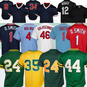 24 Rickey Henderson 44 Reggie Jackson 4 Yadier Molina Ozzie Smith 12 Wade Boggs 9 Ted Williams 34 David Ortiz Baseball Jerseys
