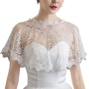 Women Embroidery Floral Lace Cape Wrap Wedding Bridal Perspective Pullover Shawl Shrug Shoulder Covers Prom Bolero C1002