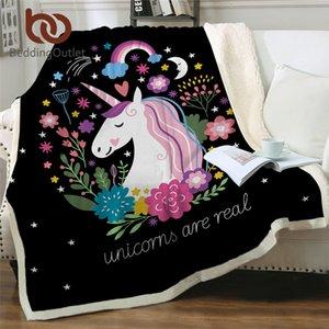 BeddingOutlet Unicorn Love Cobertor Floral Cartoon Sherpa Cobertor para Crianças Menina Sofá Soft Plusha Colchas De Plush Drop Drop Ship 201111