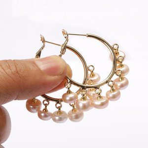 multiple natural white freshwater pearl beads chandelier pendant charm big hollow gold hoop earring for woman daily jewelry