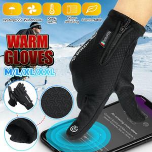 Guantes calentados guantes calientes del invierno para las mujeres Windstopers Hombres Anti Slip pantalla táctil transpirable de agua a prueba de viento de la cremallera Negro