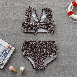 2021 New Wear Ins Baby Leopard Children's Swimsuit Set
