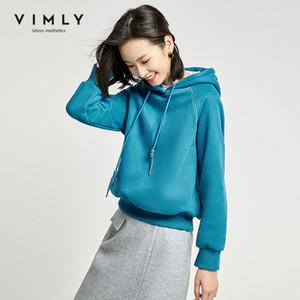Vimly Printemps Automne Mode Femmes Sweat à capuche Lacets solide Casual Sweats à capuche en vrac épais Femme Pull Tops 98990 201019