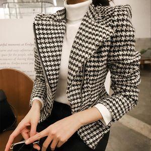 autumn winter comfortable temperamental new arrival fashion fresh simple plaid work style high quality zipper jacket