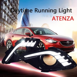 ECAHAYAKU 1 Set LED Car Styling Daytime Running Light with Yellow Turn Signal Front Fog Lamps for 6 Atenza 2014 2020 2020