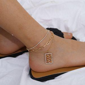 Punk Cuban Link Chain Anklets Bracelet Beach Jewelry for Women Crystal Dragon Ankle Bracelets Boho Body Chain Jewelry Foot Fashion Charm