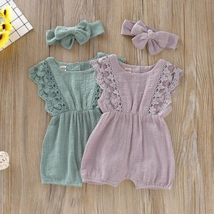 Summer Baby Girl Rompers Newborn Baby Clothes Toddler Flare Sleeve Solid Lace Design Romper Jumpsuit ff with Headband One-Pieces