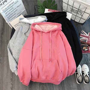 2020 New Spring Autumn Harajuku Hoodies Women Large Size Leisure Letter Printed Hooded Pullover Soft Cotton Ladies Sweatshirts