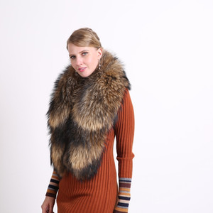 100% Natural Jacket Fur Collar Real Raccoon Fur Women Scarves Winter Coat Female Neck Cap Long Warm Genuine Fur Scarf Big Size 201019