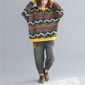 Camisolas Designer painéis Womens Camisolas Moda soltos estilo literário das mulheres Casual capuz As fêmeas Roupa Stripe Impressão