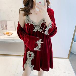 New autumn winter Women's pajamas set Gold velvet sleepwear Sexy sling deep V nightie lady dress robe set Home clothes nightgown